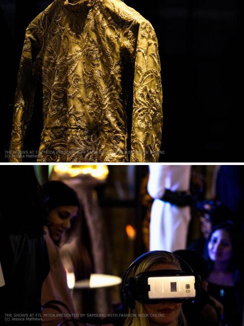 בנוסף לתצוגה, שהוקרנה לצופים ברולוציה גבוהה במשקפיים של גוגל, השמלות הוצגו פיזית על בובות (צילום: FTL MODA)