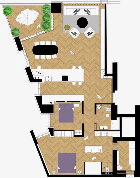 תוכנית הדירה, על קוויה האלכסוניים (צילום: עמית גרון)