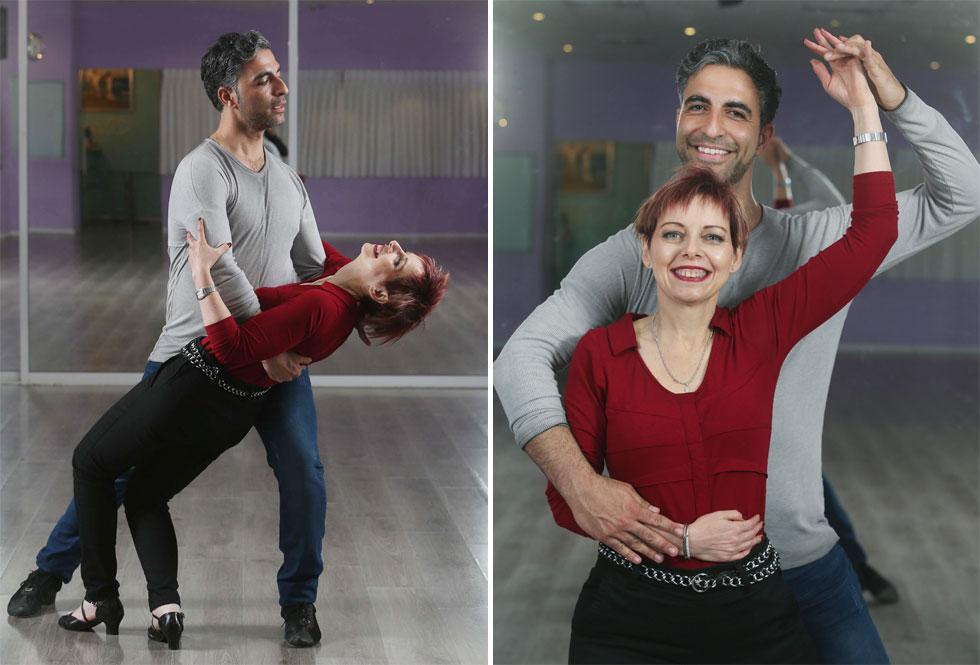 """עם הפרטנר שלה לריקודים, רואי שמש. """"הריקוד תרם לשיווי המשקל שלי, ליציבות ולחיזוק הרגליים"""" (צילום: צביקה טישלר)"""