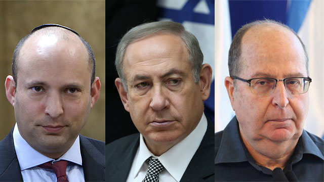 Bennett, Netanyahu and Ya'alon. Will this voodoo ritual prepare us for the next operation? (Photos: Motti Kimchi, Amit Shabi, Alex Kolomoisky)