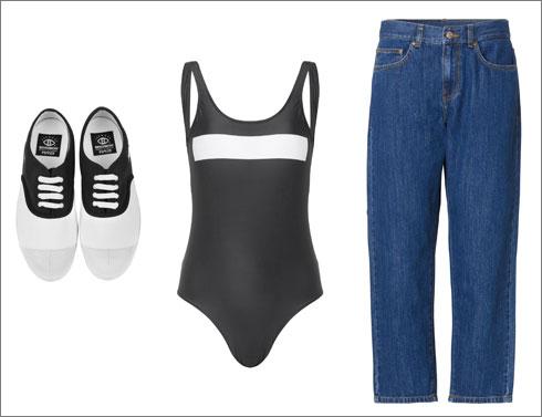 """מכנסי ג'ינס, 430 שקל, ובגד ים, 250 שקל - ד""""ר דנים; נעליים, 299 שקל, בנסימון x פילפלד (צילום: חיים שוורצמן)"""