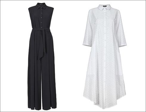 שמלה לבנה עם טקסטורה, 790 שקל; אוברול שחור ללא שרוולים, 755 שקל  (צילום: עדי גלעד)
