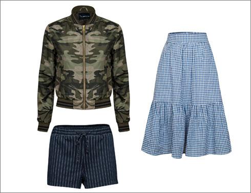 חצאית משובצת, 129.90 שקל; ז'קט בומבר צבאי, 169.90 שקל; מכנסונים בדוגמת פסים, 99.90 שקל (צילום: אלעד חיזקי)