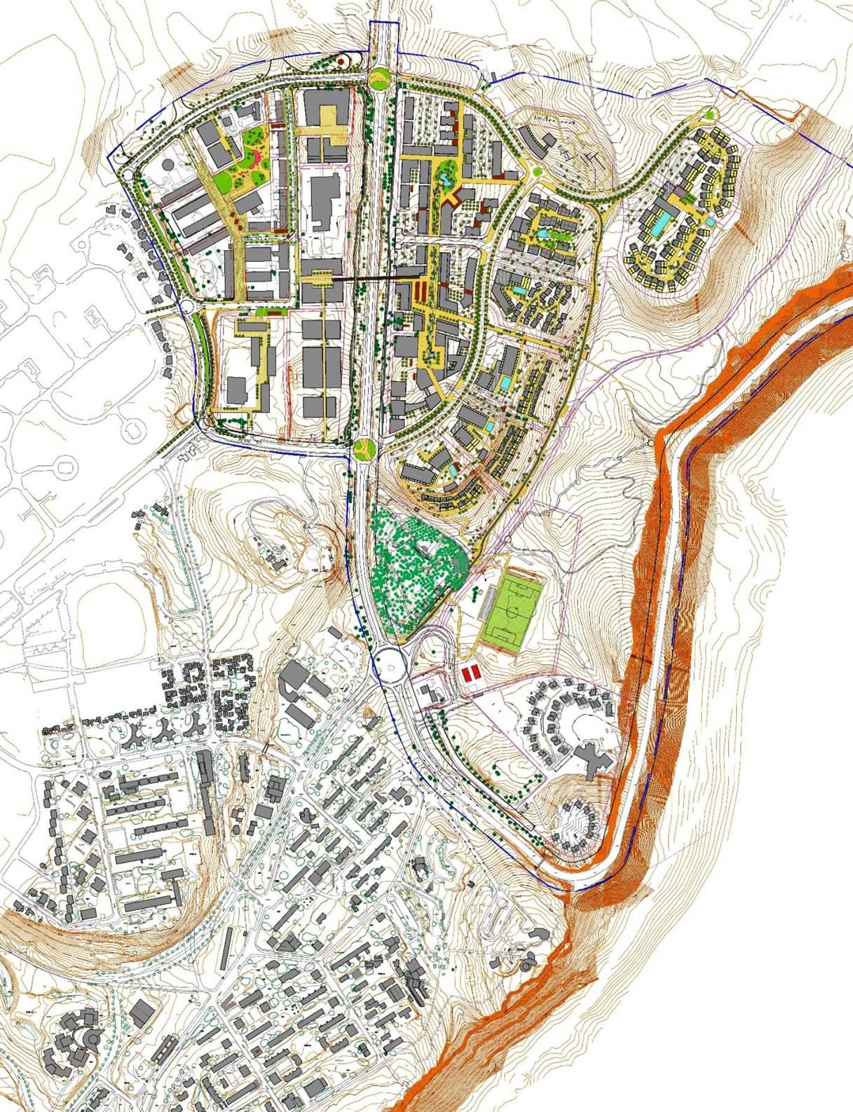 מפת פיתוח התשתיות של היישוב  (הדמיה) (הדמיה)
