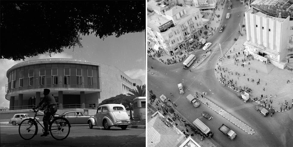 ושתי נקודות תל אביביות שאיבדו את קסמן הישן: כיכר מוגרבי (אלנבי פינת בן יהודה) מימין, והבניין הצנוע של תיאטרון הבימה משמאל (צילום: דוד רובינגר)