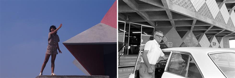 בניין עיריית בת ים הוא אחד הידועים בישראל. מימין: ראש העירייה מנחם רוטשילד בפתח הבניין; משמאל: תושבת העיר על הגג, בהפגנה של מחוסרי דיור ב-1990 (צילום: דוד רובינגר)
