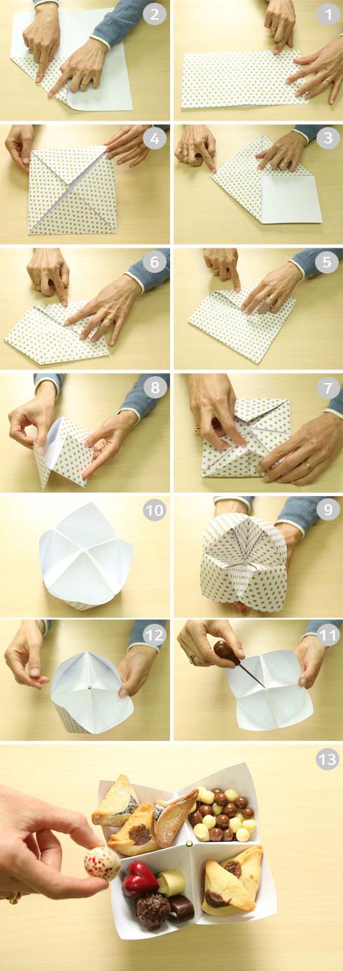 תהליך הכנת משלוח בקיפול אוריגמי (צילום: אלעד גרשגורן)