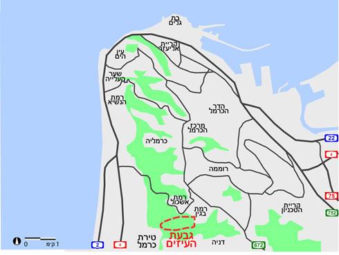 גבעת העיזים ממוקמת בין שכונות מגורים ובין שני וואדיות נחלים (מפה: מיכאל יעקובסון)