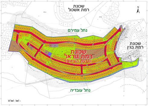 תוכנית השכונה נערכה במשרד מהנדס העיר. צפיפות המגורים בשכונה צפויה להיות נמוכה (מתוך mavat.moin.gov.il, עיבוד תמונה: מיכאל יעקובסון)