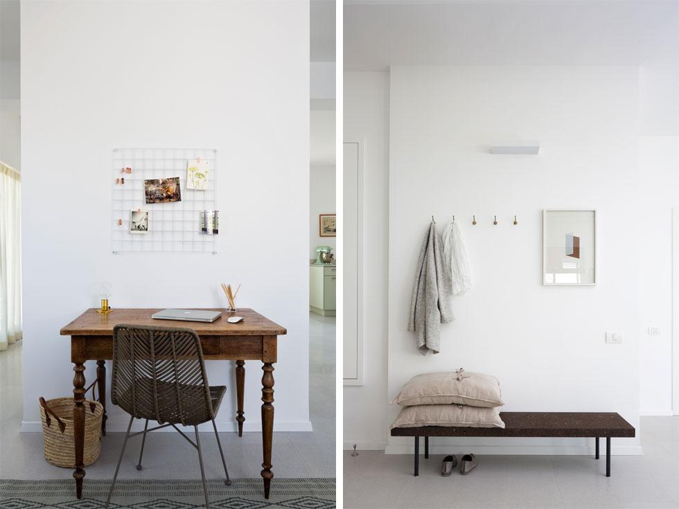 פריטי העץ, כמו הספסל ושולחן העבודה, מכניסים לדירה הבהירה כתמי צבע כהה (צילום: שי אפשטיין)