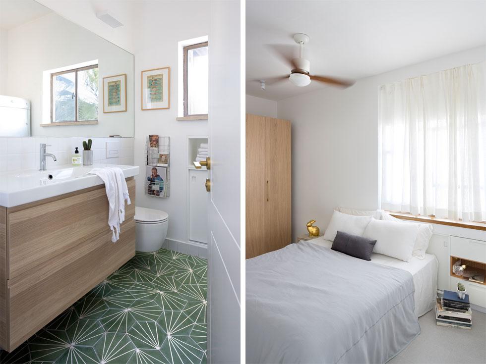 המיטה בחדר השינה צמודה לארון אחסון נמוך שנבנה כסגירה של נישה קיימת. רצפת חדר הרחצה חופתה באריחי בטון ירוקים עם דוגמה גיאומטרית, ומוסיפים הומור (צילום: שי אפשטיין)