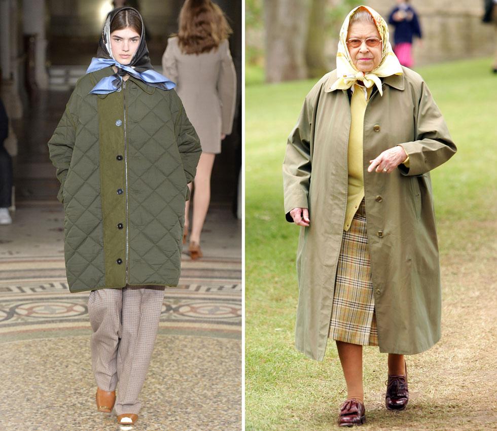 """סטלה מקרטני הציגה מחווה למלכת אנגליה אליזבת ה-II: דוגמנית במעיל בצבע זית, מכנסיים משובצים ומטפחת ראש פרחונית – ה""""מדים"""" הרשמיים של המלכה לביקור בטבע. אתם מוזמנים להחליט האם מדובר בכבוד או בפרודיה. למטה: תצוגת האופנה של שאנל יצרה שואו עתידני וכללה חללית ממותגת ששוגרה לתקרה (צילום: Gettyimages)"""