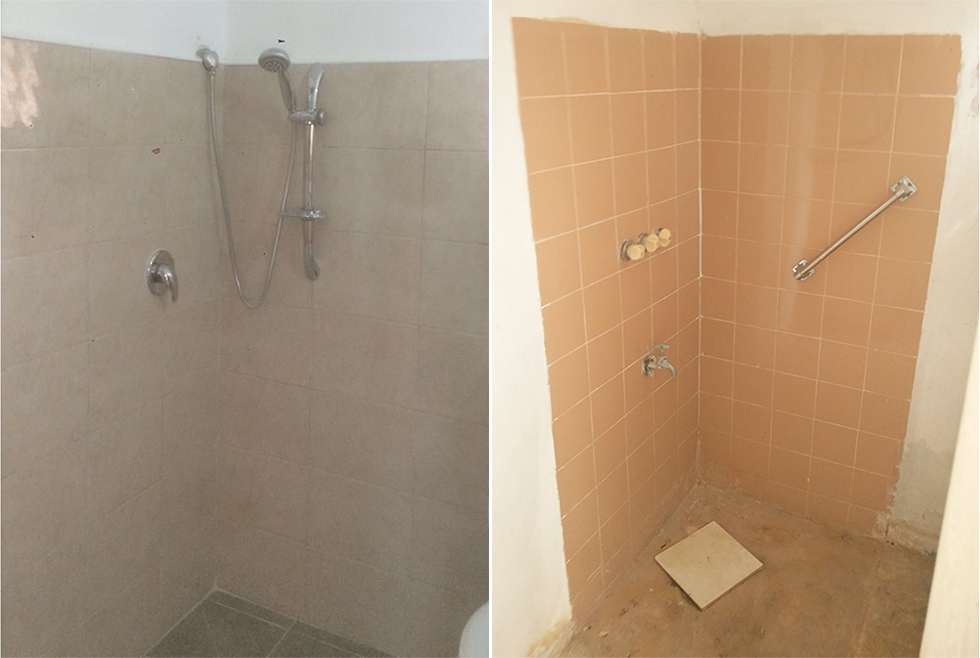 מקלחון ששופץ עם קרמיקה חדשה על הקירות, צנרת שהוחלפה ומערכת ניקוז שטופלה (צילום: באדיבות עמידר החדשה) (צילום: באדיבות עמידר החדשה)