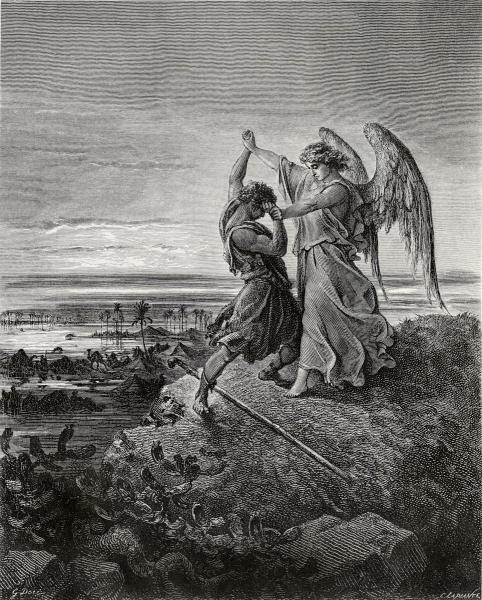 """""""יעקב נאבק במלאך"""", תחריט של גוסטב דורה מהמאה ה-19 ()"""