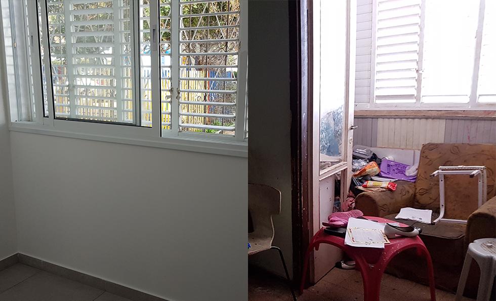 חדר המשפחה בסלון. החלפת אריחים, טיח חדש והחלפת חלונות שמספקות עכשיו 50% יותר אור בבית (צילום: באדיבות עמידר) (צילום: באדיבות עמידר)