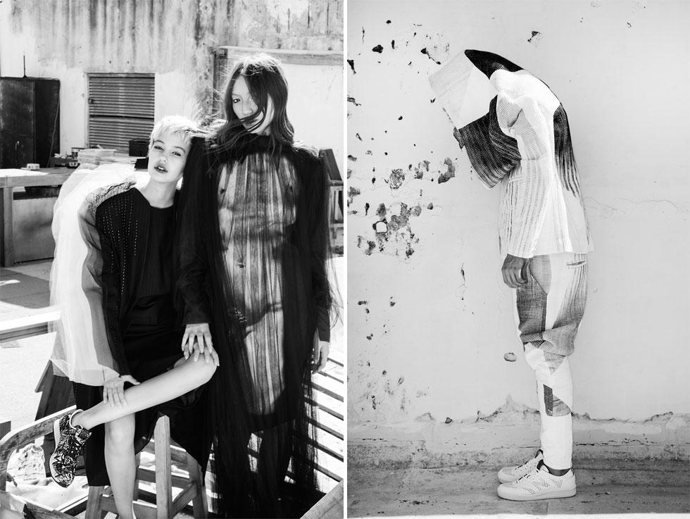 מימין: בגדים, הדס כהן; משמאל, קרינה בעיצובים של יפעת עזרא ושקד בעיצובים של נעמה לבנת (צילום: איתן טל)