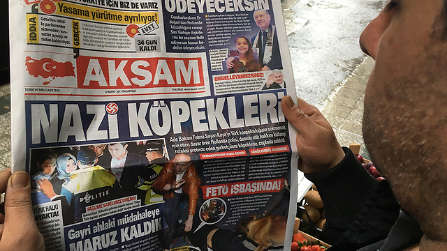 Turkish newspaper headline: Nazi Dogs (Photo: MCT)