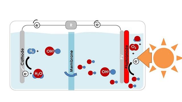 תקן פוטו-אלקטרוכימי קונבנציונלי, שבו מפרידה ממברנה בין שני התוצרים (חמצן מימין, מימן משמאל) (הדמיה: דוברות הטכניון)