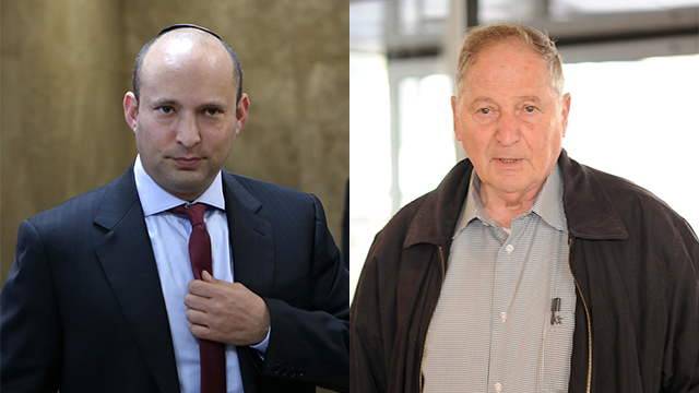 Minister of Education Naftali Bennett and Chairman of the Teachers' Union, Ran Ezra (Photo: Yuval Chen and Alex Kolomoisky) (Photo: Yuval Chen and Alex Kolomoisky)