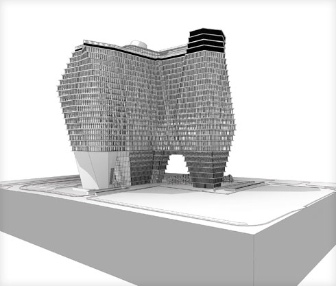 שלוש רגליים דקות מחזיקות את הבניין (דיאגרמה: רון ארד אדריכלים)