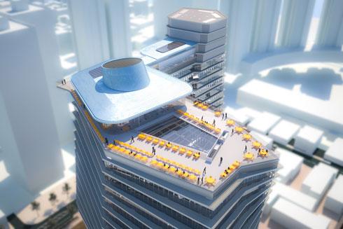 מובטח כי הגג יהיה פתוח לציבור הרחב, שייהנה ממסעדות ונוף חד-פעמי על גוש דן (הדמיה: רון ארד אדריכלים)