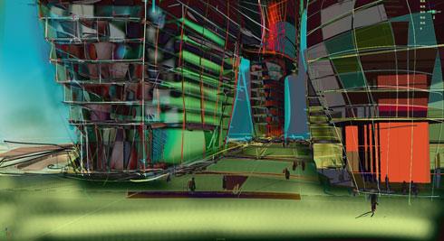עוד סקיצה של רון ארד לפרויקט. תחושה של עיר סואנת ביום ובלילה (סקיצה: רון ארד אדריכלים)