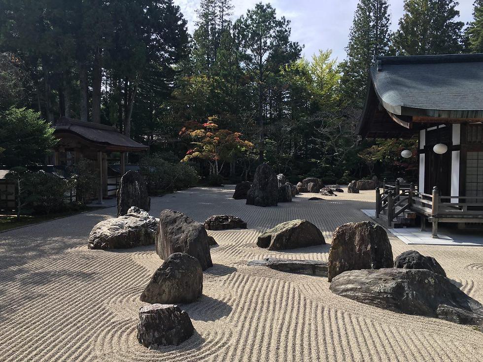 אחת הגינות במנזר המשמש גם כמקום אירוח ולינה בכפר (צילום: שירי הדר)