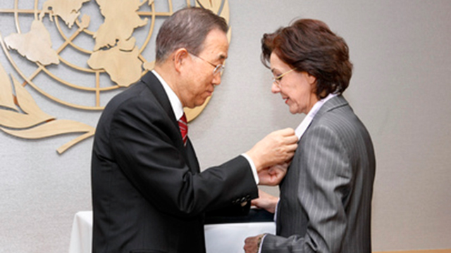 UN Under-Secretary General Rima Khalaf with former UN Secretary General Ban Ki-moon