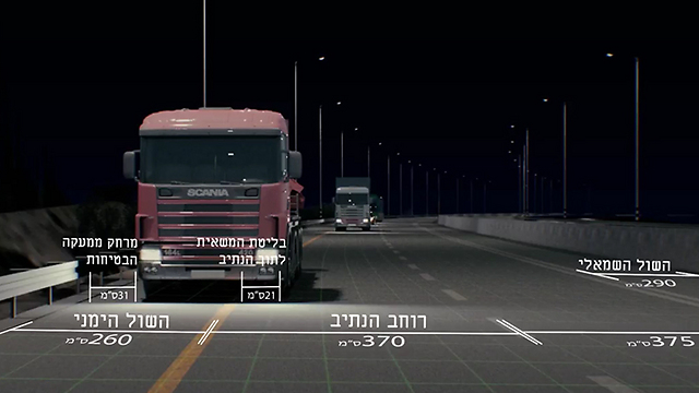 שוליים צרים מדי - המשאית חייבת לבלוט