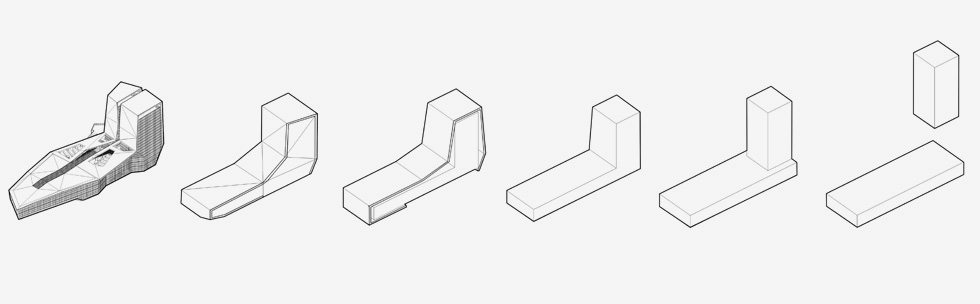האבולוציה של הקונספט. קמטים וקפלים נוצרו ממפגשים גיאומטריים לא קבועים, כך שחיפוי המבנה הוא מעין אוריגמי (שרטוט: מן שנער אדריכלים)