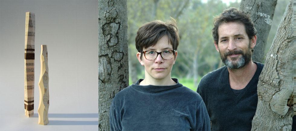 צוריאל גוטליב וקתרינה ברנד (''סטודיו ויהי'') מציגים השנה קולקציה ''נגוסה'' של שרפרפים ומנורות שולחן שרגליהן עשויות עץ גושני (צילום: בנג'י כהן, סטודיו ויהי)