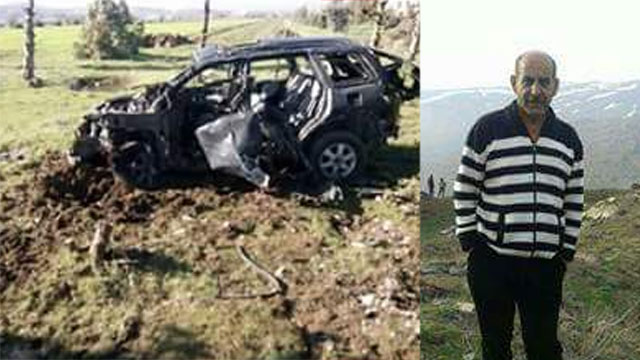 Yasser Hussien Assayed and his vehicle after the drone strike