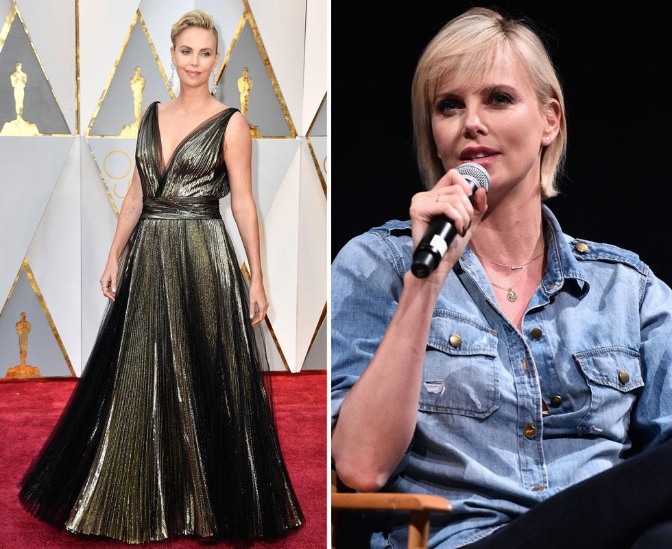 במסיבת עיתונאים בלוס אנג'לס בקיץ האחרון (מימין) ובטקס האוסקר, בחודש שעבר, בשמלה שהטלוויזיה האיראנית צנזרה (צילום: Gettyimages)