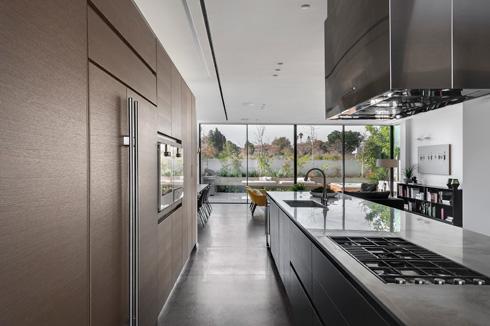 מבט מהמטבח אל הגינה. המקרר והתנורים הוטמעו בארונות הקיר (צילום: עודד סמדר)