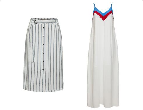 שמלת מקסי עם צווארון וי, 299.90 שקל; חצאית בדוגמת פסים, 159.90 שקל  (צילום: אודי דגן)