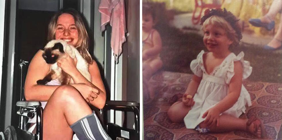 """ליס בגיל שלוש, בקיבוץ (מימין), ובכיסא הגלגלים. """"קורה שרופאים אומרים לי: 'נראה לי שהרקע הוא פסיכולוגי'"""" (צילום: אלבום פרטי)"""