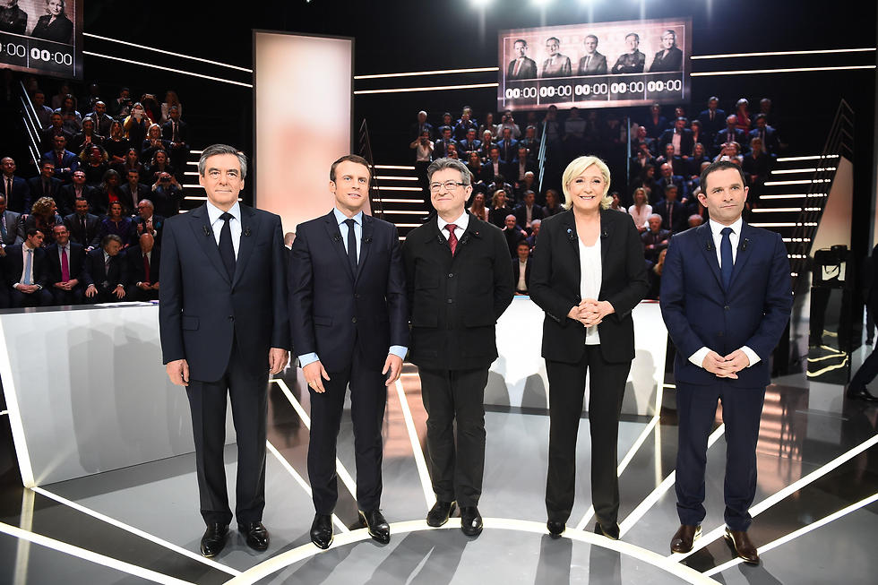 The leading five candidates, left to right: Fillon, Macron, Mélenchon, Le Pen and Hamon (Photo: AFP)