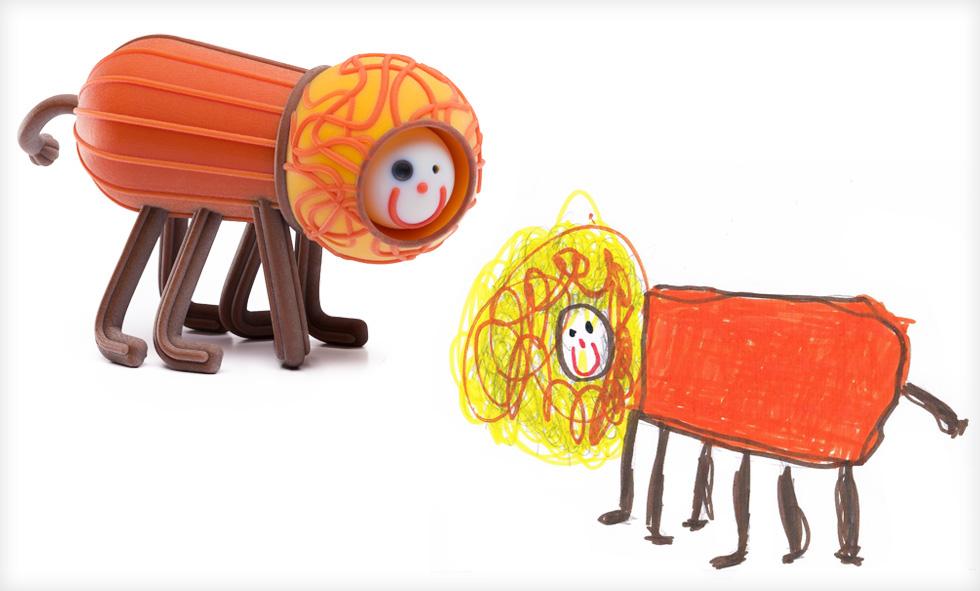 הצמד של רועי ו-wishlist. כרמון ורוגוזיק הביאו לאונקולוגית ילדים בתל השומר את מדפסת התלת ממד שלהם מהמשרד, והראו לילדים את הדרך שעובר הציור, עד לקבלת בובה שהם יכולים להחזיק ביד (צילום ציורי ילדים: באדיבות סטודיו דור כרמון, צילום הבובות: יורם רשף)