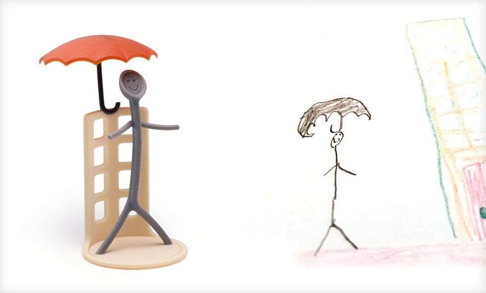 הציור של חאלה והעיבוד של סטודיו תגה. יצורים מעולמם הפרטי של הילדים (צילום ציורי ילדים: באדיבות סטודיו דור כרמון, צילום הבובות: יורם רשף)