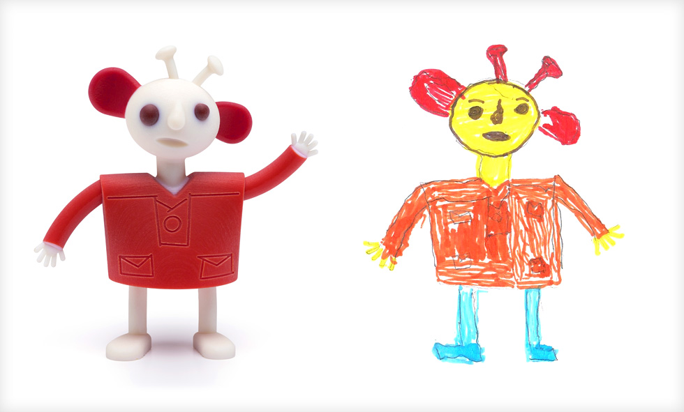 החייזר של מייס וסטודיו ''רדיש''. מכל בובה הודפסו שני עותקים: אחד לילד, והשני שיימכר בשבוע הבא ביריד ''צבע טרי'', במעין מכירה פומבית שקטה שהכנסותיה תרומה לבית החולים (צילום ציורי ילדים: באדיבות סטודיו דור כרמון, צילום הבובות: יורם רשף)