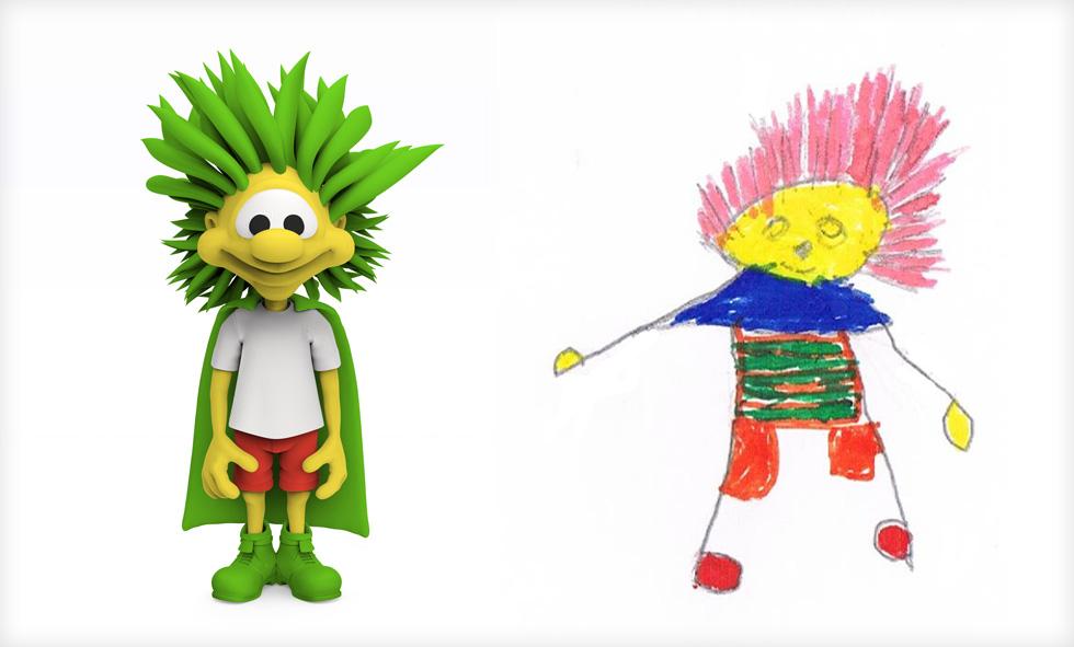 גיבור העל של מאראק ועידן אהרונסון (צילום ציורי ילדים: באדיבות סטודיו דור כרמון, צילום הבובות: יורם רשף)