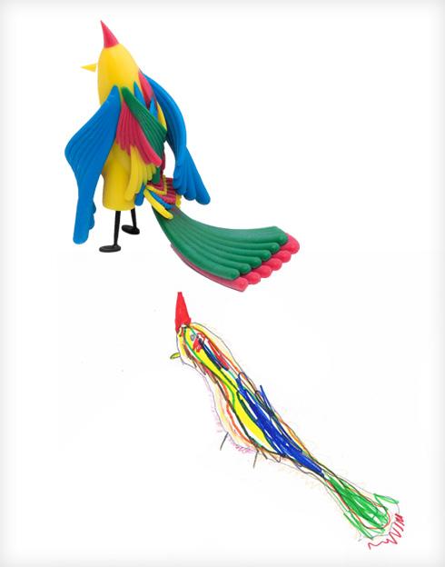 ציפור רבת יופי של חיים והילה שמיע (צילום ציורי ילדים: באדיבות סטודיו דור כרמון, צילום הבובות: יורם רשף)