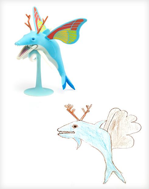 דולפין עם כנפיים של פרפר וקרני אייל. הציור של יהונתן, ההנפשה של ניר אפלבאום (צילום ציורי ילדים: באדיבות סטודיו דור כרמון, צילום הבובות: יורם רשף)