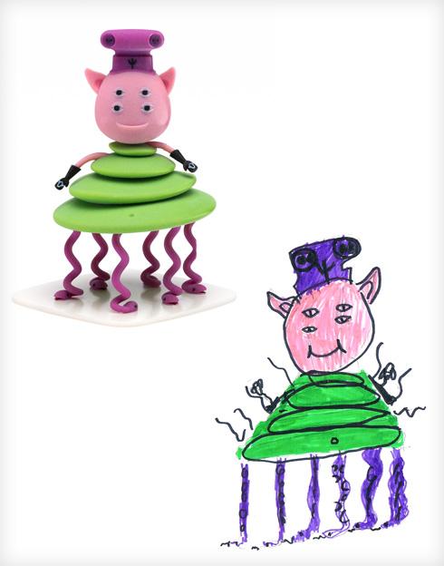 היצור של יואב וסטודיו OTOTO (צילום ציורי ילדים: באדיבות סטודיו דור כרמון, צילום הבובות: יורם רשף)