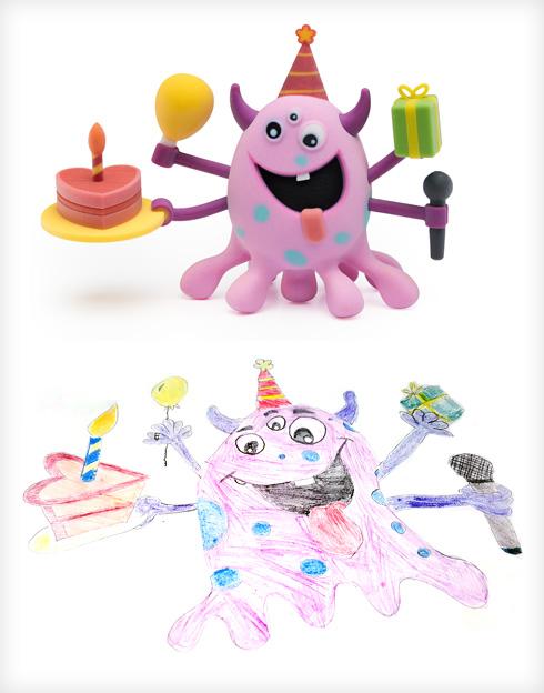 מתנות לכולם. היצור של עדי וסטודיו תגה (צילום ציורי ילדים: באדיבות סטודיו דור כרמון, צילום הבובות: יורם רשף)