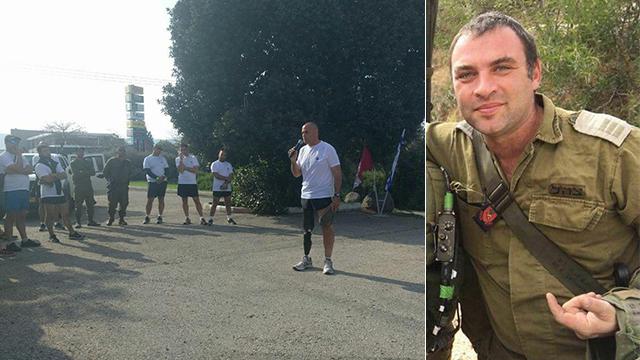 """מימין: סרן ברזנר. משמאל: המח""""ט ליוויוס, קטוע רגל, מבקש מהלוחמים להמשיך לרוץ, לאחר האסון ()"""