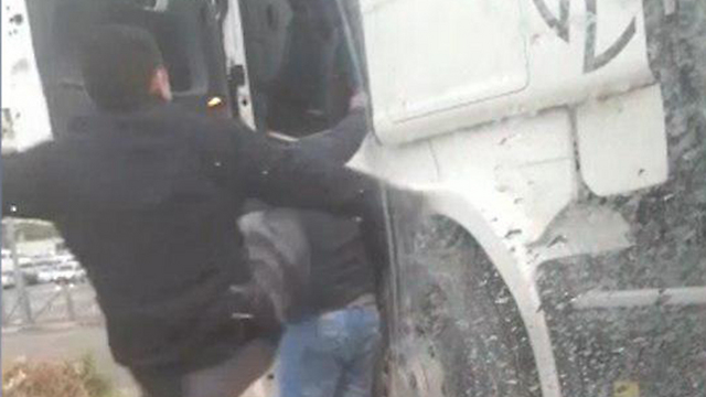 A still from the video of the attack