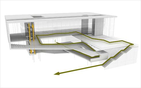 בניין עם שתי מערכות תנועה מקבילות - לחוקרים ולמבקרים - ומפגש יחיד ביניהם (תוכנית: קימל אשכולות אדריכלים)