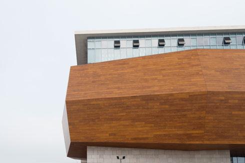 ליבת הבניין, והאלמנט העיצובי הבולט בו, היא מחסן האוספים. מבט מבחוץ (צילום: גדעון לוין)