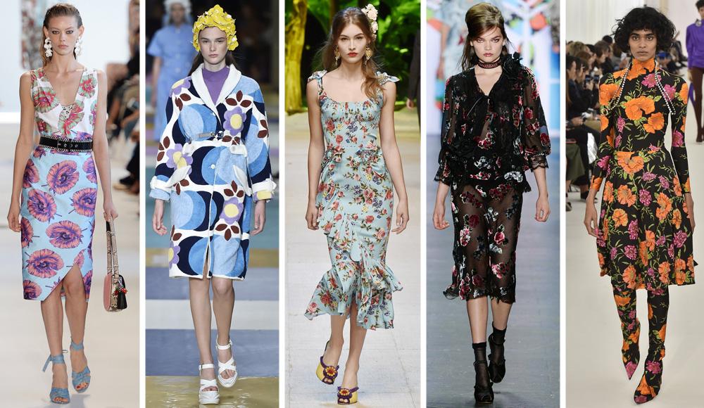 פרחים בשלל גרסאות בתצוגות האופנה. בלנסיאגה, אנה סוי, דולצ'ה & גבאנה, מיו מיו ואלטוזארה (צילום: Gettyimages)